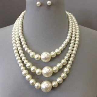 IAmShe Pearl Layered Necklace set and Earrings