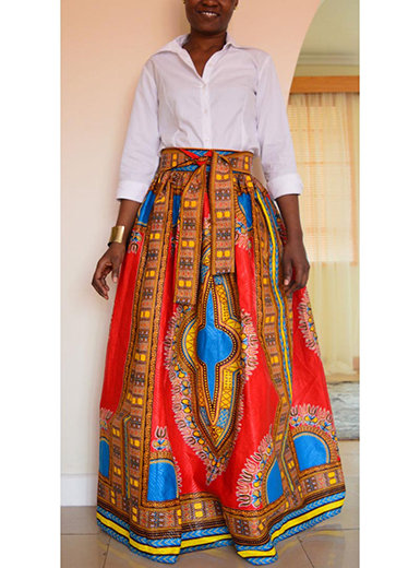 IAmShe 2 Pieces African Style Maxi Dress in Colorful Print (Without Top)