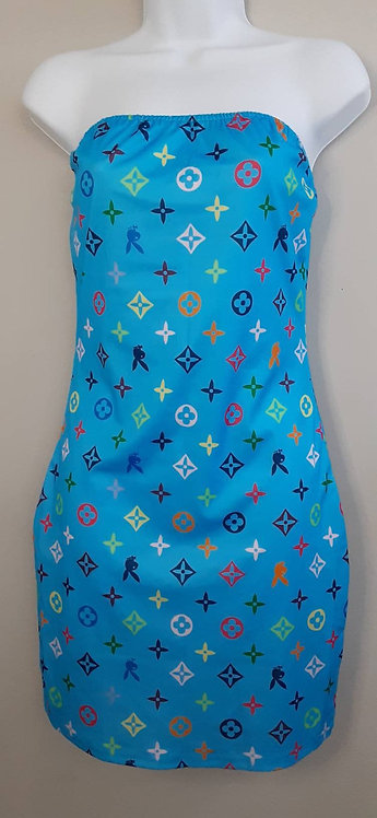 IAmShe Designer Print Strapless Dress W/ Matching Mask & Bucket Hat
