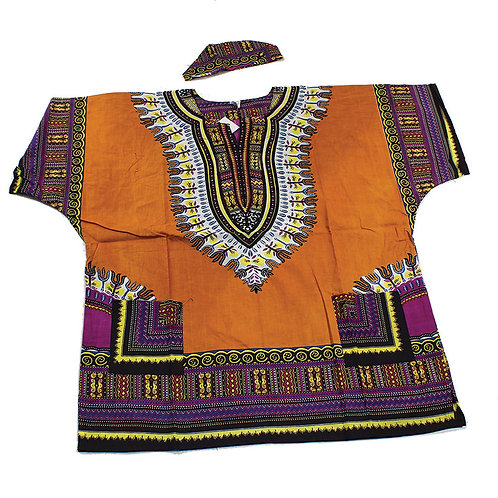 IAmShe Kingsized Traditional Dashiki W/Kofia Rust