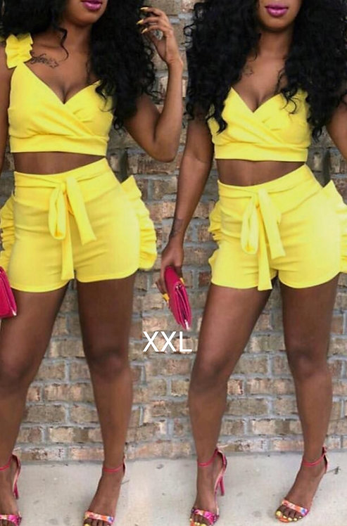 IAmShe Falbala Yellow Two-piece Short Set