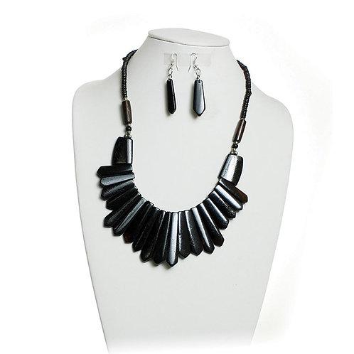 IAmShe Black Bone Tribal Necklace & Earring Set
