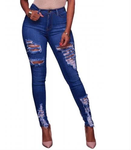 IAmShe Blue Whiskery Destroyed Skinny Jeans