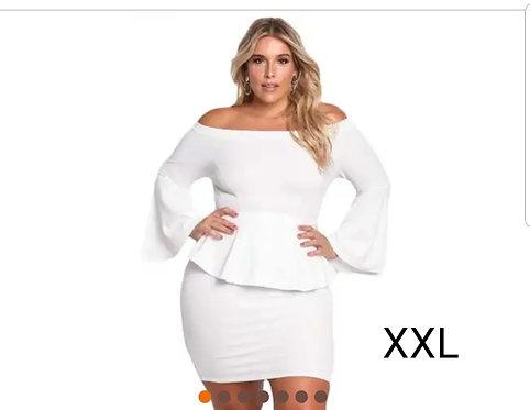 IAmShe White Off The Shoulder Bell Sleeves Peplum Plus Dress