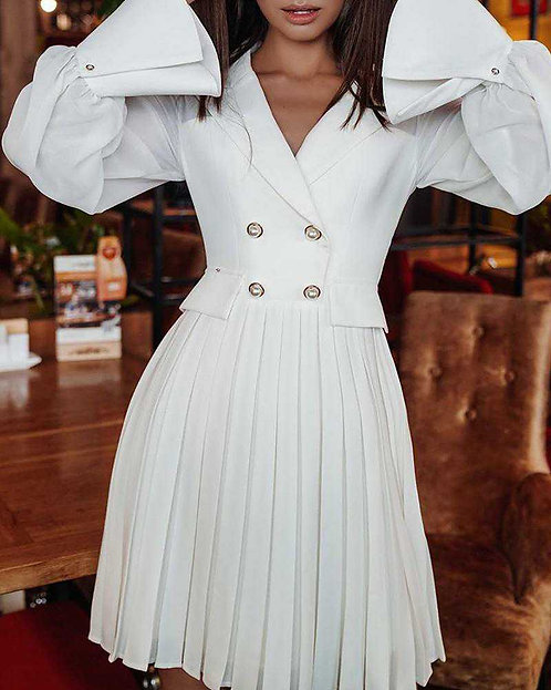 IAmShe White Double Breasted Pleated Blazer Dress