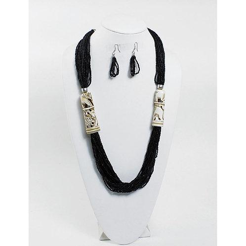 IAmShe Double Totem Black Bead Necklace Set