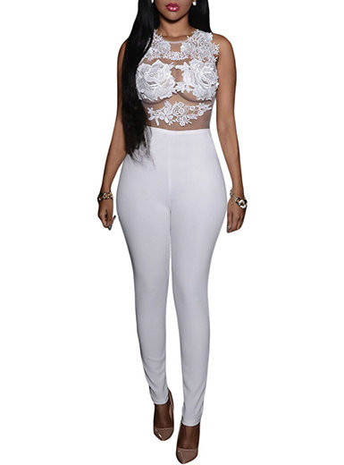 IAmShe See Through Lace Embellished Jumpsuit - Sleeveless