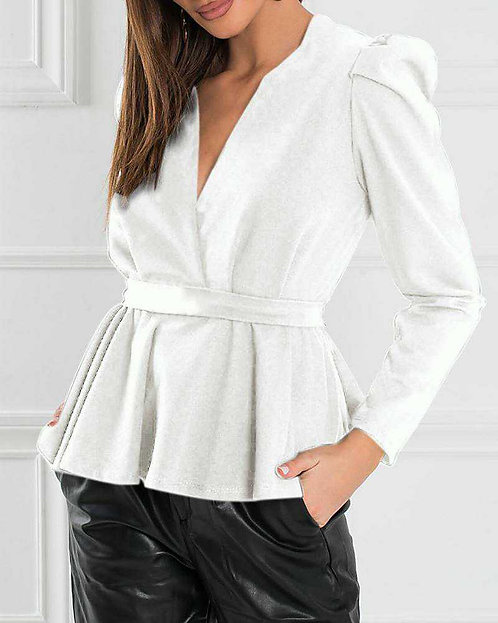 IAmShe White Solid Puff Sleeved Blouse