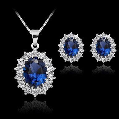IAmShe Silver Filled Blue Sapphire Jewelry Set
