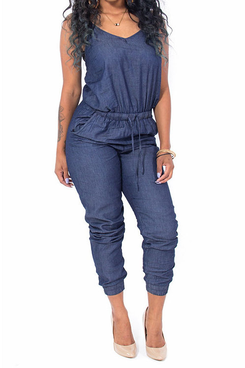 IAmShe Blue Denim One-piece Jumpsuits