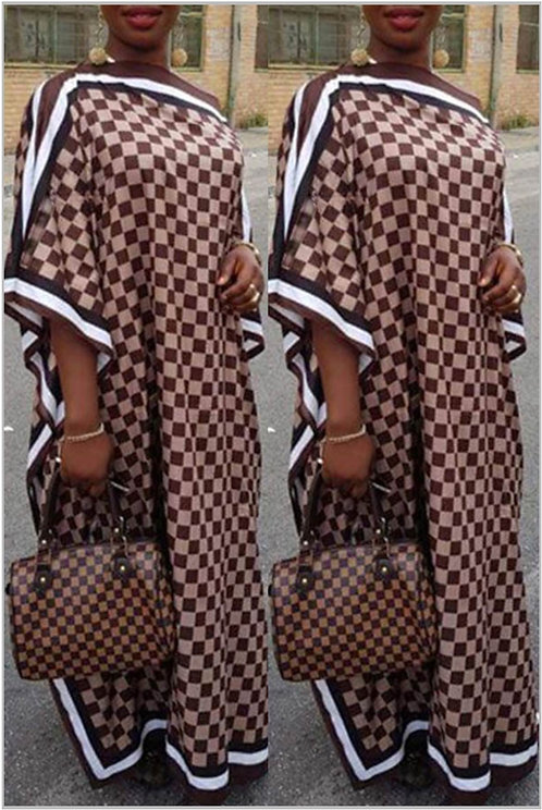 IAmShe Brown Printed Casual Ankle Dress