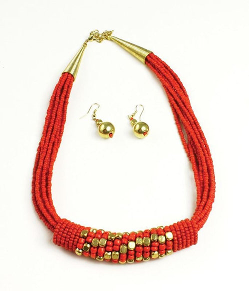 IAmShe Red Beaded Barrell Necklace Set