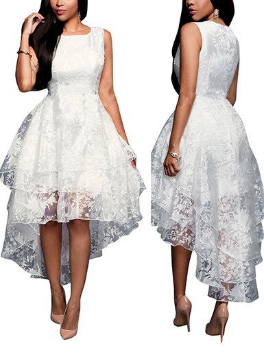 IAmShe White Lace Dress - Three Layered / Sleeveless