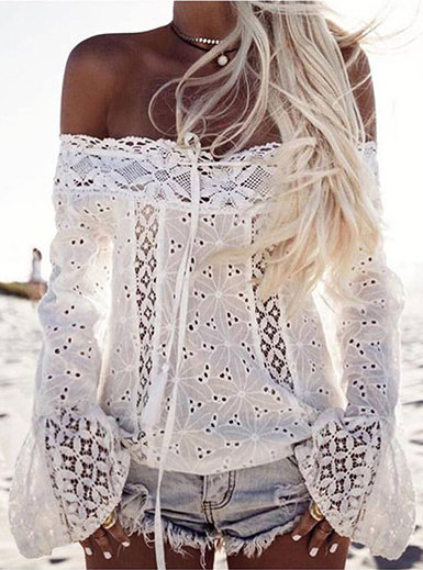 IAmShe WMNS Crochet Style Off the Shoulder Blouse with Tie Accents