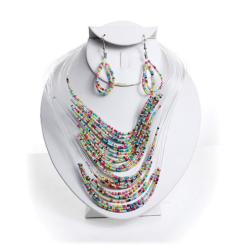 IAmShe Beaded Necklace & Earring Set Multi Colors