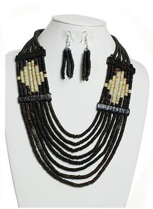 IAmShe Dk Brown Village Necklace & Earring Set