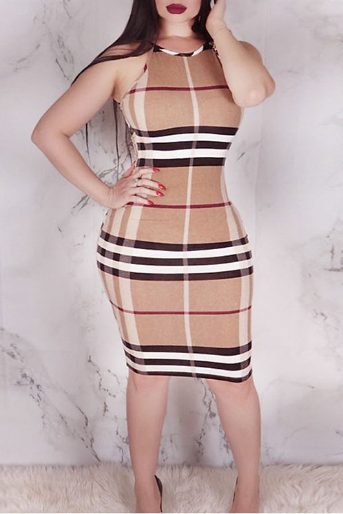 IAmShe Plaid Printed Khaki Knee Length Dress