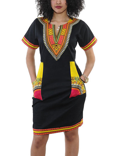 IAmShe Tribal Printed Mid Dress - Short Sleeves