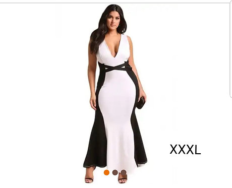 IAmShe Plus Size Color Block Cross Strap Maxi Gown