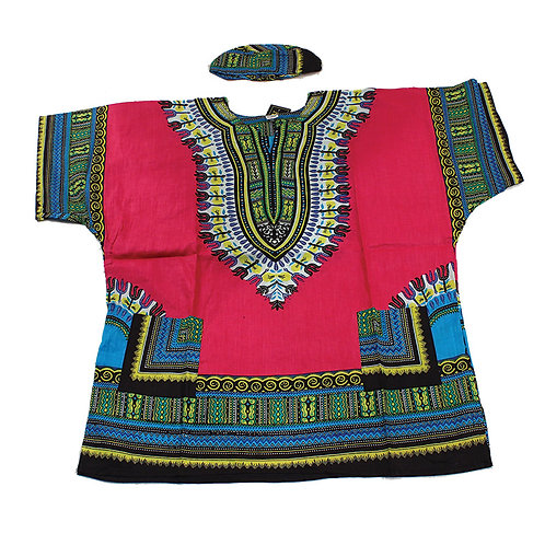 IAmShe Kingsized Traditional Dashiki W/Kofia Pink