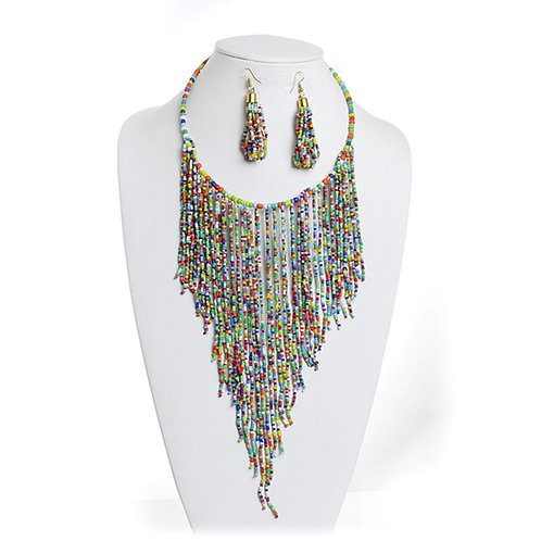 IAmShe Rainbow Breasted Choker & Earrings Set