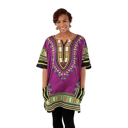 IAmShe Kingsized Traditional Dashiki W/Kofia Purple