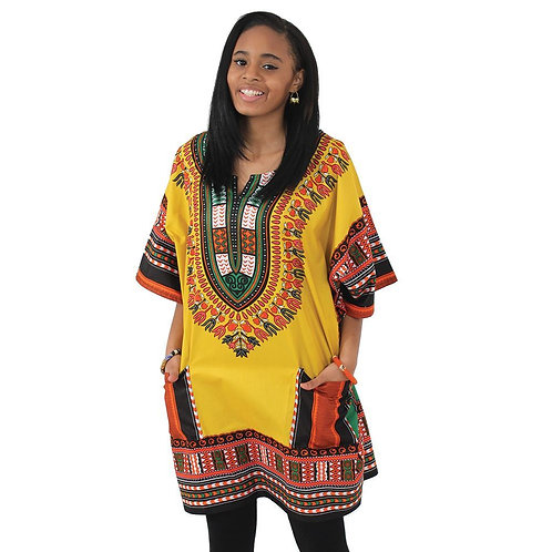 IAmShe Kingsized Traditional Dashiki W/Kofia Yellow