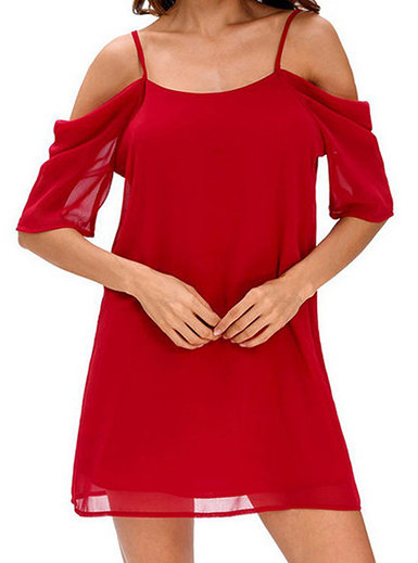 IAmShe Bare Shoulder Dropped Mini Swing Dress
