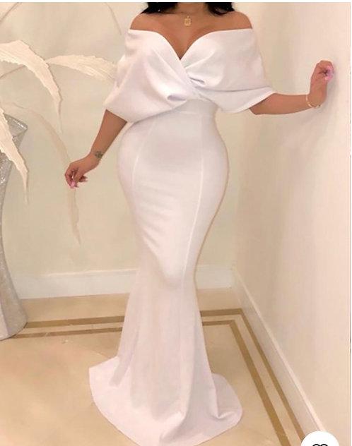 IAmShe White Cross Over Neck Fishtail Evening Gown