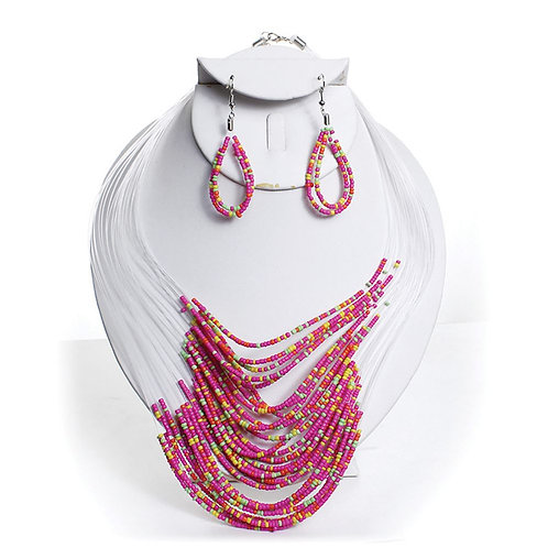 IAmShe Beaded Necklace & Earring Set Pink