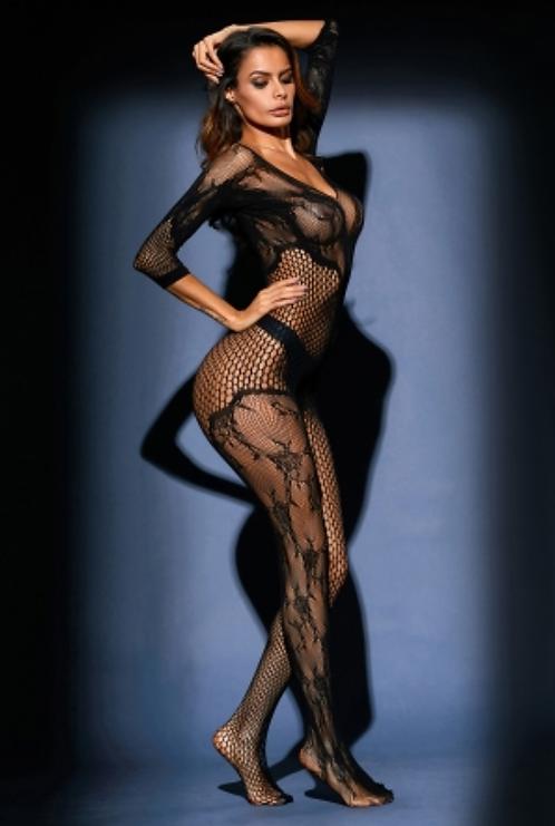 IAmShe Black Asymmetric Lace Mesh Body Stocking