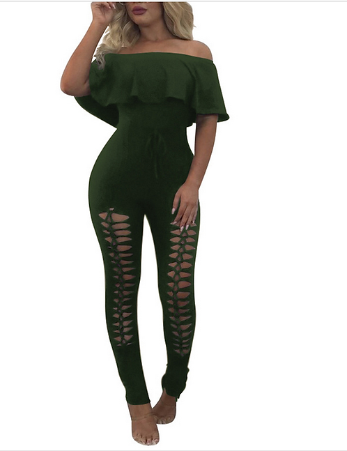 IAmShe Low Shoulder Hallow Out Polyester 1Piece Jumper