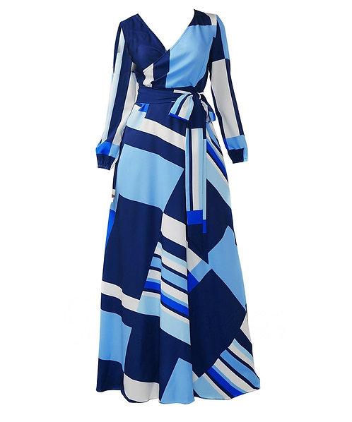 IAmShe Bohemian Lace Up V Neck Women's Maxi Dress