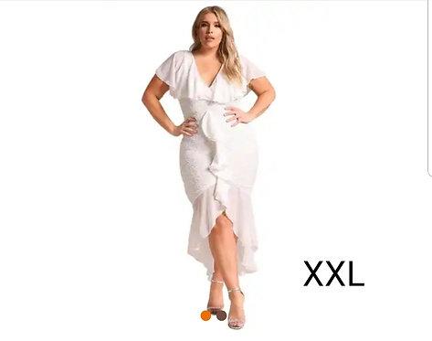 IAmShe White Plus Size Chiffon Lace Waterfall Ruffle Midi Dress