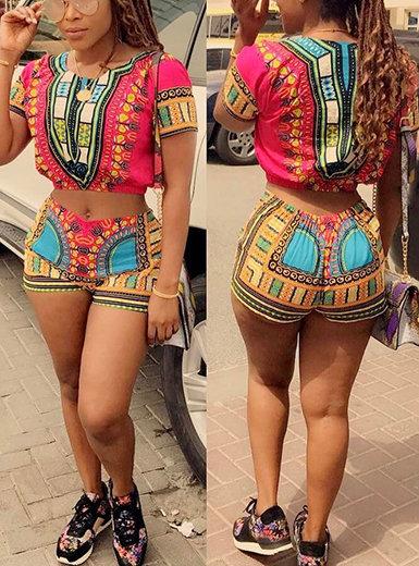 IAmShe 2 Piece Set - African Pattern Short Sleeve Shirt and Shorts Combo
