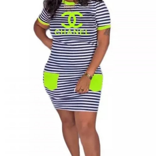 IAmShe Stripe Printed Dress With Pockets