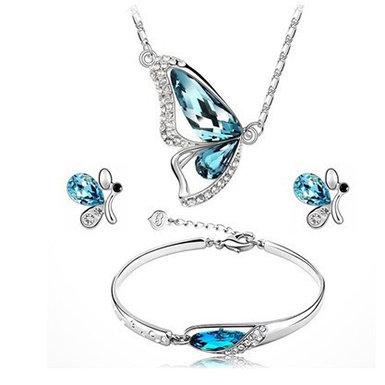 IAmShe Butterfly Themed Crystal Jewelry Set