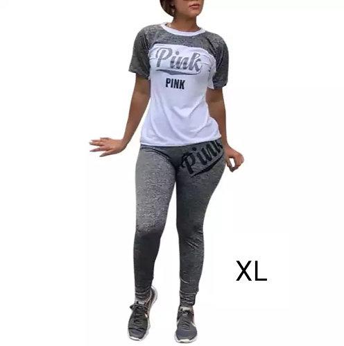 IAmShe Printed Grey/white Two-Piece Pants Set