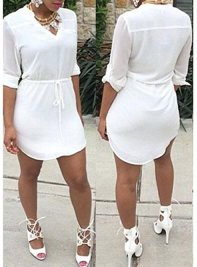 IAmShe White Drawstring Waist Casual Dress - V-Neck  Half Sleeve