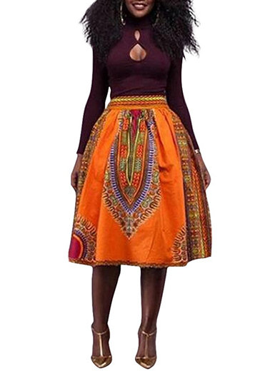 IAmShe Women's Dashiki Print Gathered Midi Skirt