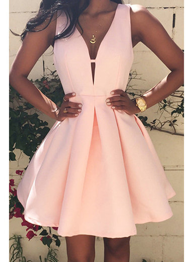 IAmShe Sleeveless Deep V Party Dress - Fit and Flare Skater Style Pink