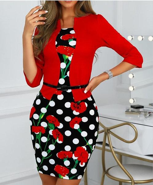 IAmShe Floral & Dots Dress