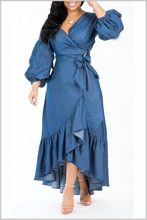 IAmShe Asymmetrical Blue Denim Mid Calf Dress