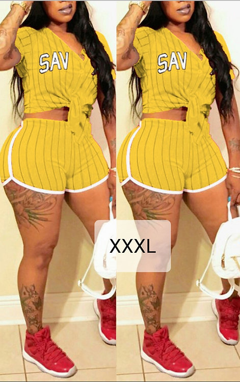 IAmShe Yellow Qmilch Two-piece Shorts Set