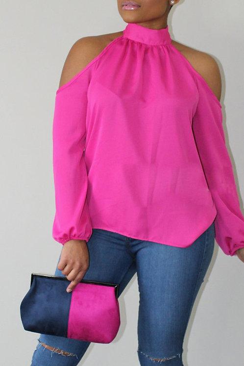 IAmShe Mandarin Collar Cold-shoulder Pink Polyester Shirt