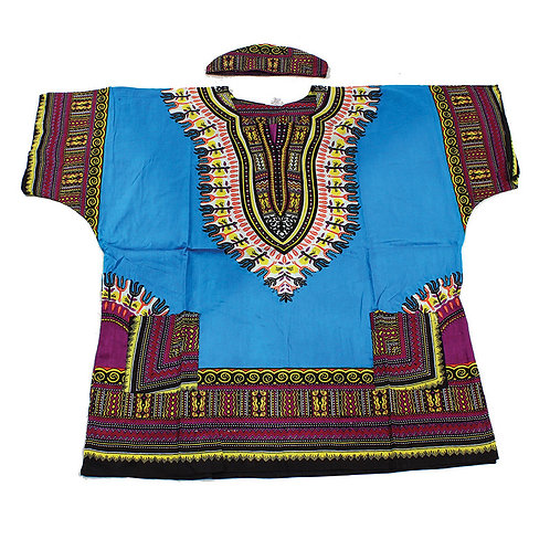 IAmShe Kingsized Traditional Dashiki W/Kofia Teal Blue