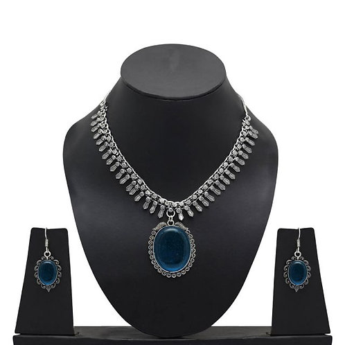 IAmShe Teal Blue Glass Stone Necklace & Earring Set