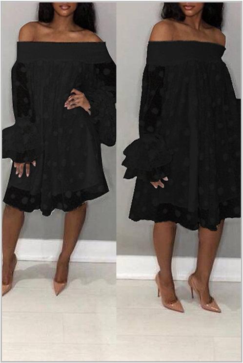 IAmShe Black Off Shoulder Horn Sleeve Dress