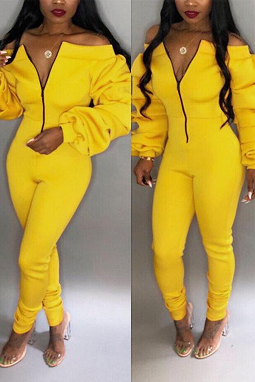 IAmShe Trendy Dew Shoulder Skinny Yellow One-piece Jumper