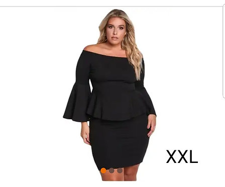 IAmShe IAmShe Black Off The Shoulder Bell Sleeves Peplum Plus Dress